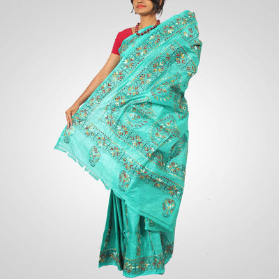 Handwoven Tussar Silk Saree in Sea Green