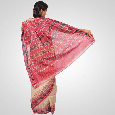 Handwoven Tussar Silk Saree in Offwhite and Maroon