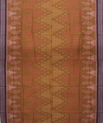 Ochre Maroon Sambalpuri Cotton Handloom Saree