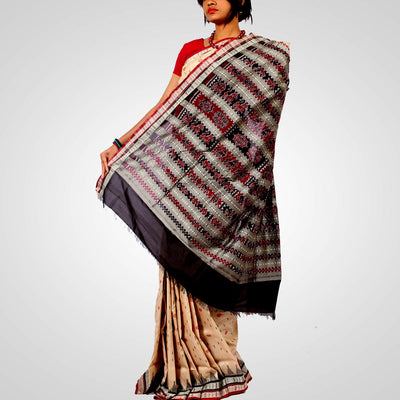 Handwoven Tussar Silk Saree in Offwhite and Black