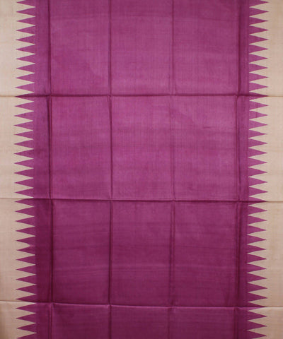 Purple and Beige Handloom Tussar Silk Saree