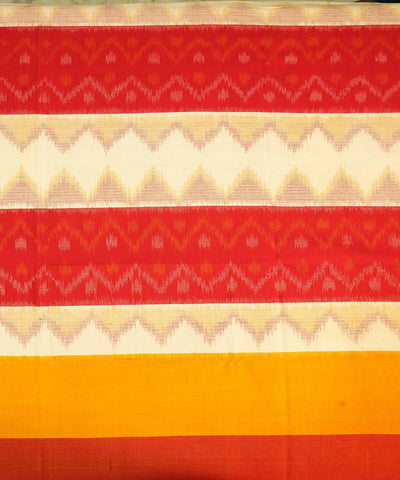 Red and Mustard Handwoven Ikat Bedsheet