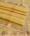 Maheshwari Handwoven Yellow Stripe Sico Saree