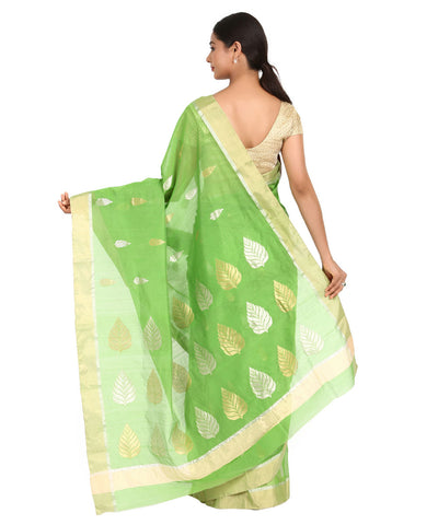 Green Leaf Butta Handloom Chanderi Sico Saree