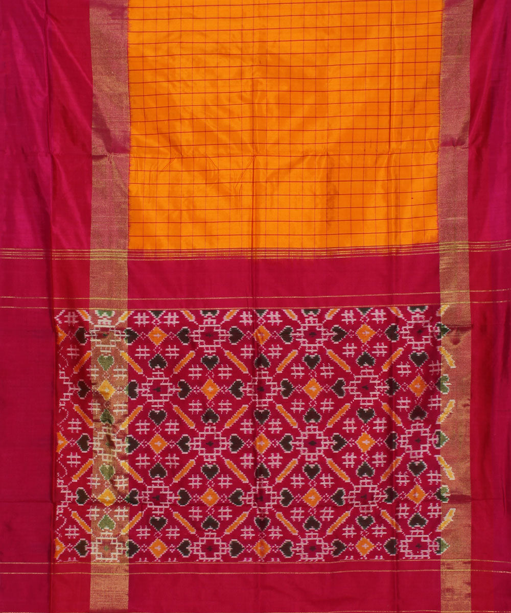 Yellow Orange Handloom Ikkat Silk Saree