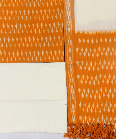 Yellow and White Handloom Ikat Cotton Suit