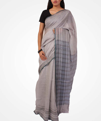 Cloud Grey Handwoven Linen Saree