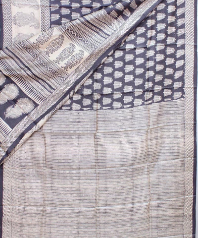 Cream and Brown Handwoven Printed Tussar Saree