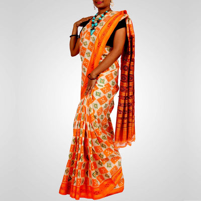 Handwoven Khandua Silk Saree of Nuapatna in White and Orangee