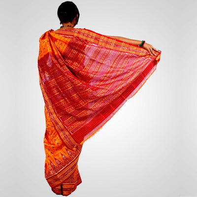 Handwoven Khandua Silk Saree of Nuapatna in Golden and Maroon