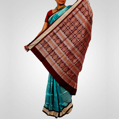 Handwoven Bomkai Silk Saree of Sonepur in Teal and Coffee