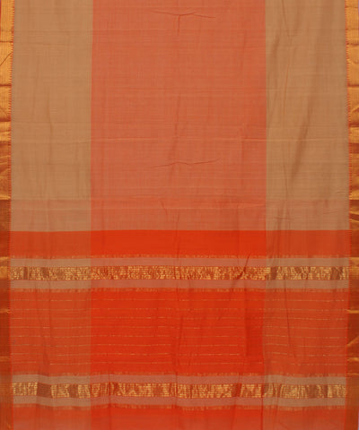 Orange Mangalagiri Cotton Handloom Saree
