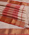 Maheshwari Handwoven Sico Off White Saree