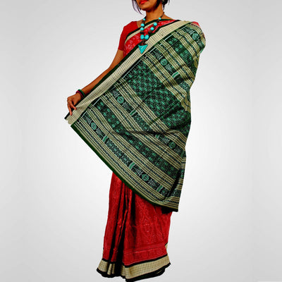 Handwoven Sambalpuri Ikat Silk Saree in Maroon and Green