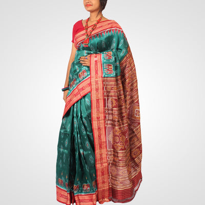 Handwoven Khandua Silk Saree of Nuapatna in Brunswick Green and Maroon