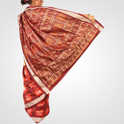 Handwoven Bomkai Silk Saree of Sonepur in Cream and Burgundy