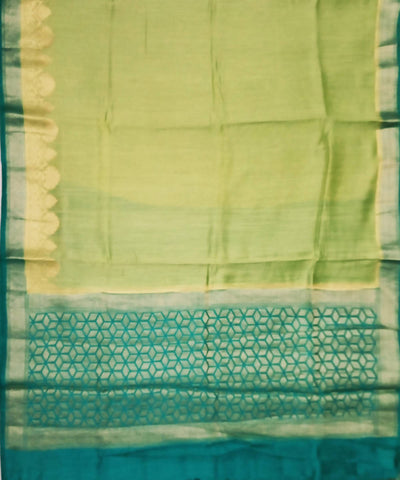 Banarasi Light Green and Turquoise Handloom Silk Saree