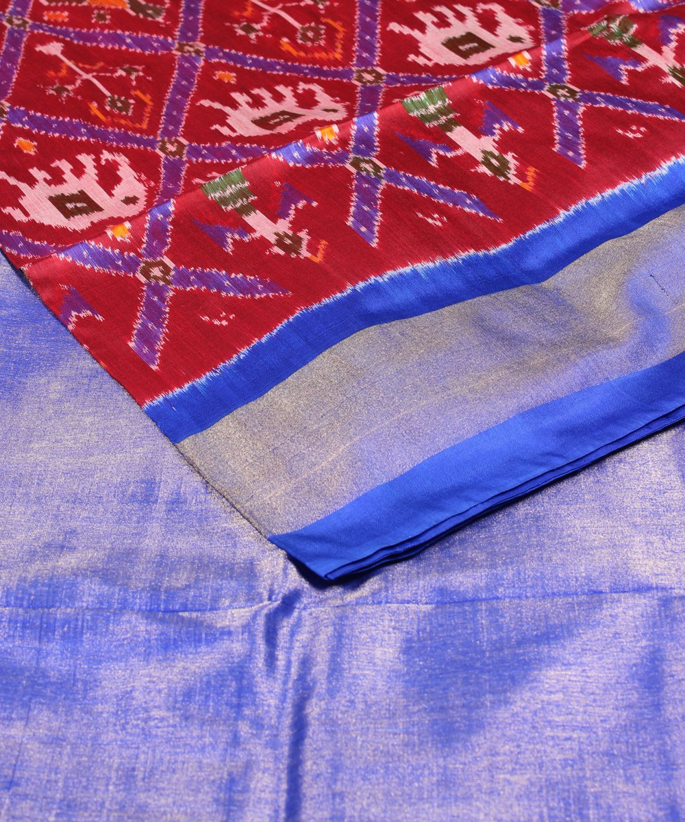 Red and Royal Blue Handloom Ikat Silk Saree