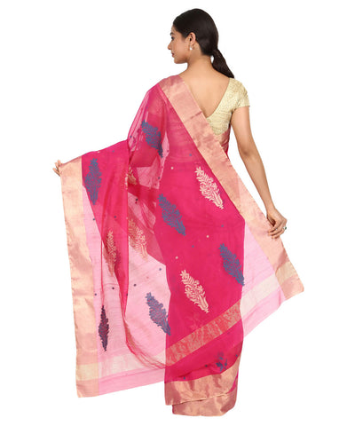 Pink with Blue Butti Handwoven Chanderi Saree