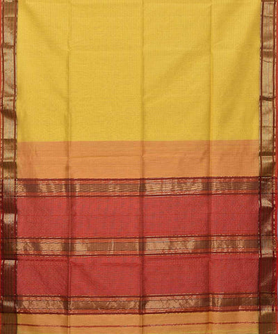 Maheshwari Handwoven Yellow Checks Sico Saree