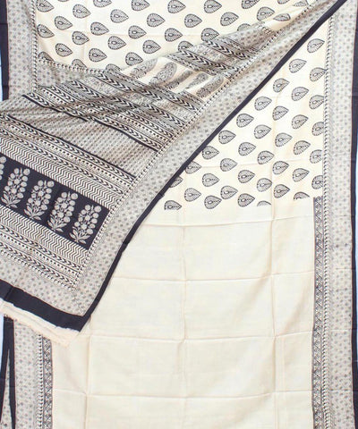 Cream Black Handloom Printed Mulberry Saree