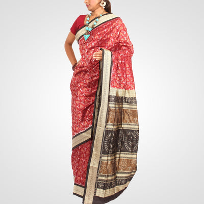 Handwoven Sambalpuri Ikat Silk Saree in Maroon and Black