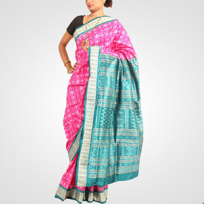 Handwoven Pasapalli Silk Saree in Deep Pink and Teal