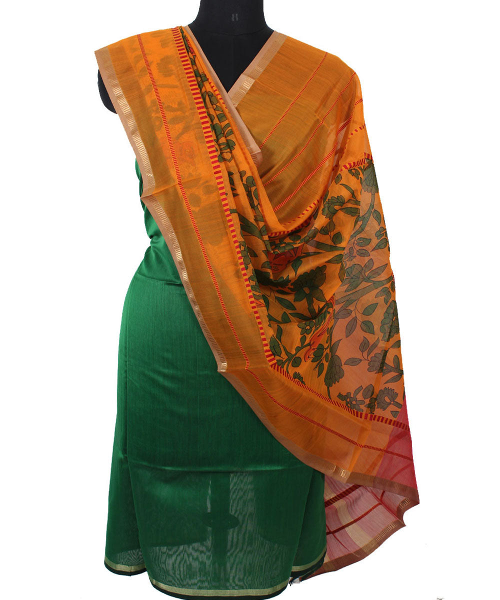 Maheshwari Green and Orange Dress Material