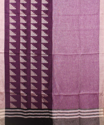 Handwoven Plum And Lilac Linen Saree