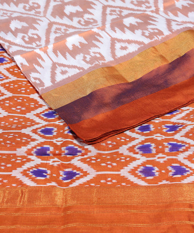 Mustard Orange Handloom Ikkat Silk Saree