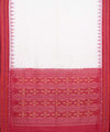 White Red Handloom Sambalpuri Cotton Saree