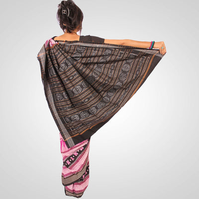 Handwoven Pasapalli Cotton Saree in Magenta and Black