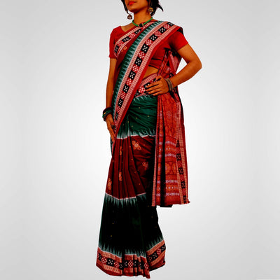Handwoven Bomkai Cotton Saree in Green and Maroon
