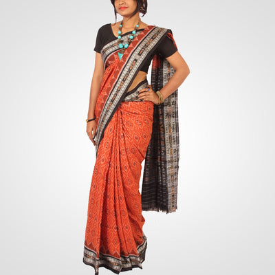 Handwoven Nuapatna Ikat Cotton Saree in Alloy Orange and Black