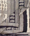 Cream Black Handloom Paisley Mulberry Saree