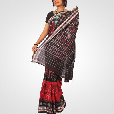Handwoven Nuapatna Ikat Cotton Saree in Reddish Maroon and Black