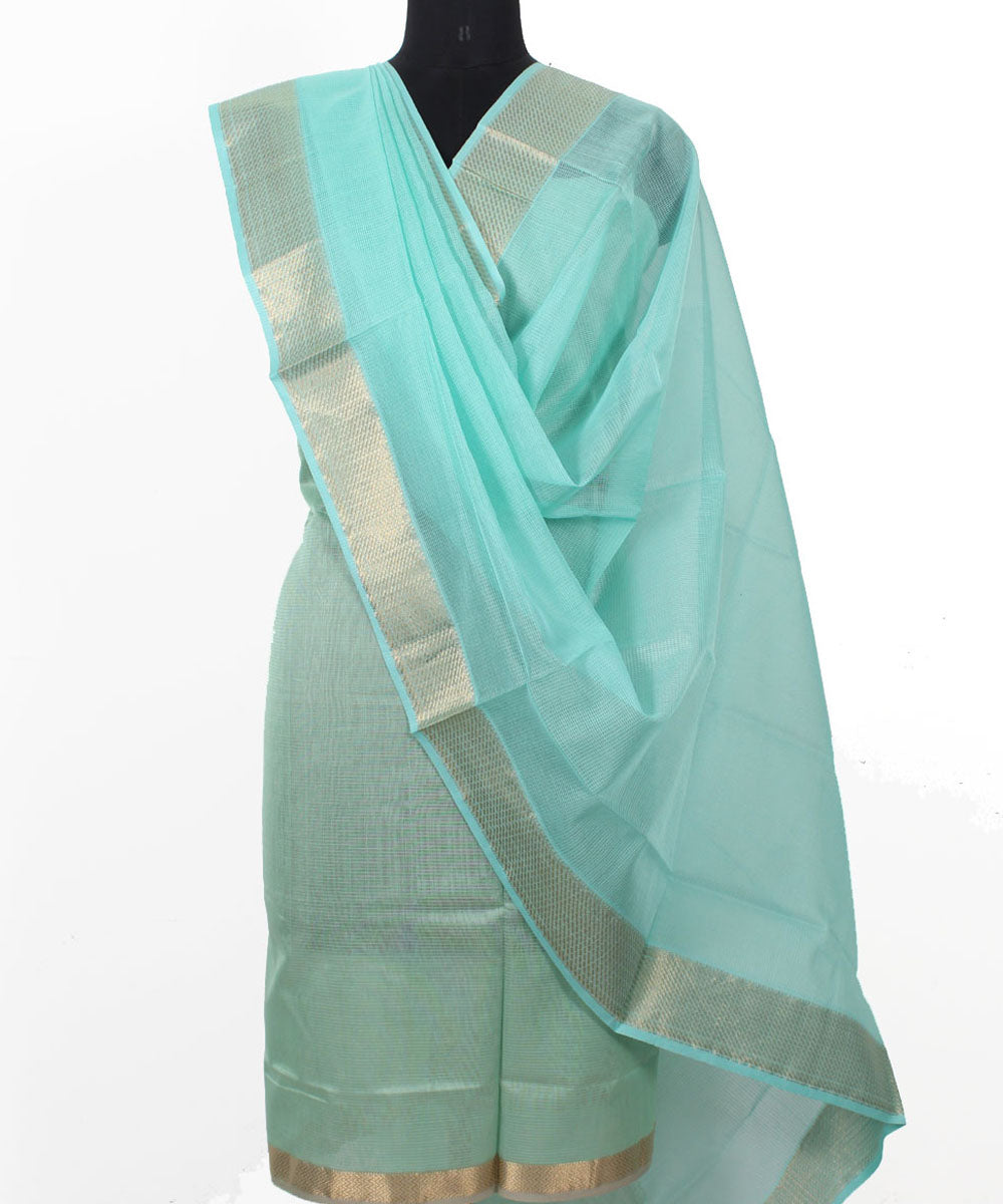 Maheshwari Arctic and Sky Blue Dress Material