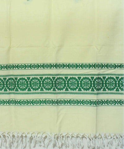 Cream and Green Handloom Woollen Shawl