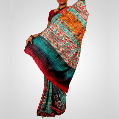 Multicolour Handloom Printed Tussar Saree