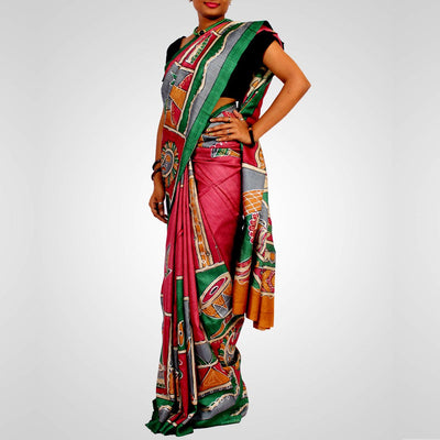 Handloom Printed Tussar Saree Multiple Colour