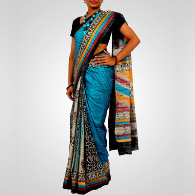 Handwoven Printed Tussar Silk Saree in Multiple Colour