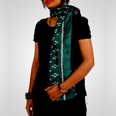 Handwoven Sambalpuri Silk Stole in Dark Green