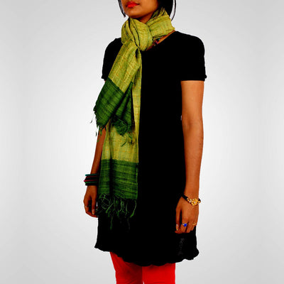 Handwoven Tussar Silk Stole in Green
