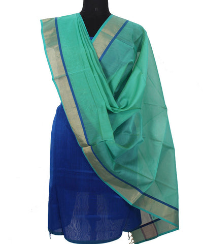 Maheshwari Navy Fern Green Dress Material