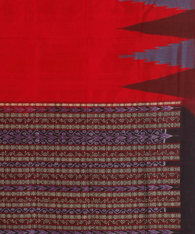 Red Black Handwoven SambalpuriSilk Saree