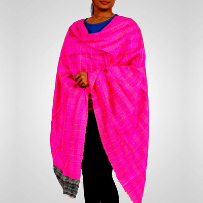 Handwoven Tussar Silk Stole in Deep Pink