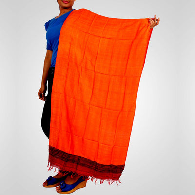 Handwoven Tussar Silk Stole in Orange