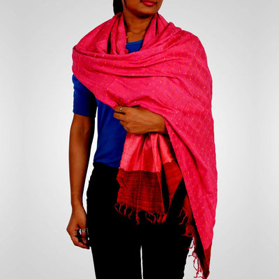 Handwoven Tussar Silk Stole in Pink