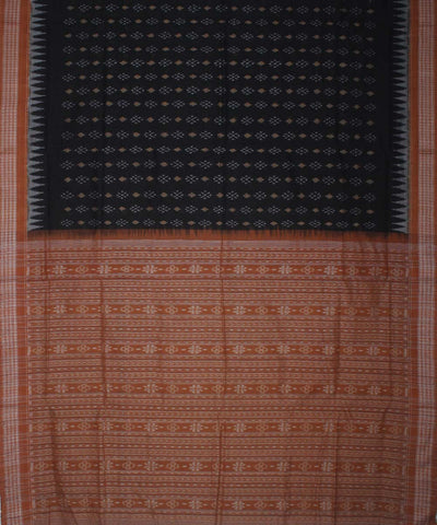 Blush Red Black Sambalpuri Handloom Saree