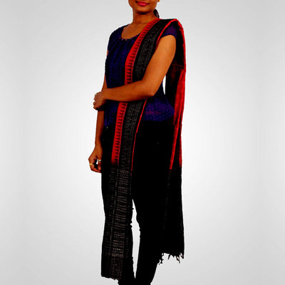 Handwoven Sambalpuri Cotton Dupatta in Red and Black